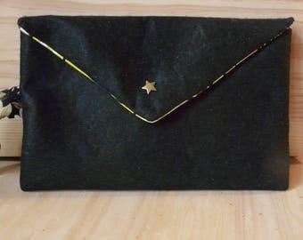 Wax African motifs inside black felt pouch