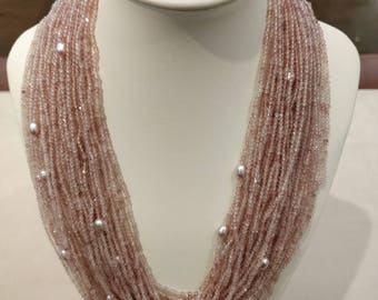 Pink quartz necklace, women necklace, bead necklace, beads jewelry