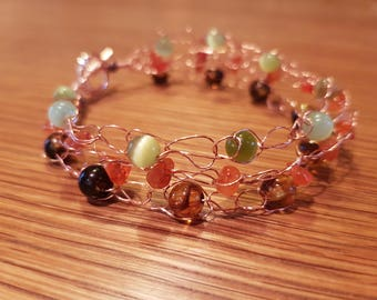 Crochet wire beaded bracelet