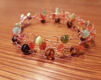 Crochet wire beaded bracelet