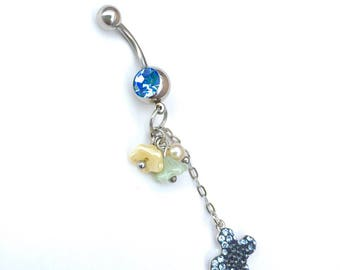 Belly button ring 316LSurgical Steel Curved Navel Barbell Body Piercing 14G (1.6mm)             Swarovski Cross with bell flowers body jewel