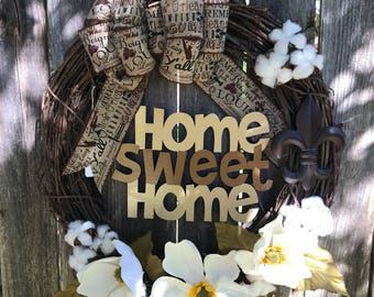 "18"" Louisiana Home Sweet Home Wreath"
