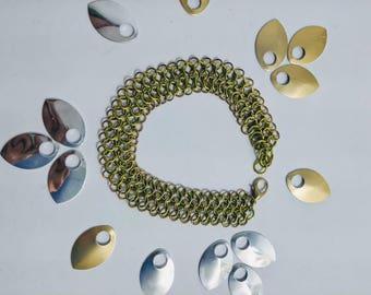 Thin European 4 in 1 bracelet, chainmaille bracelet, handmade jewelry, copper, brass