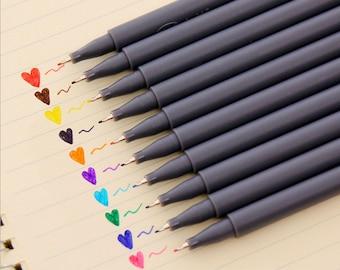 10 Assorted Fineliner Color Pen Set 0.38mm Colored Fine Liner Sketch Drawing Pen