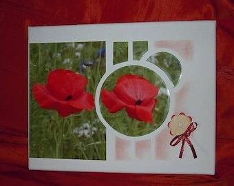 poppy photo glued on canvas