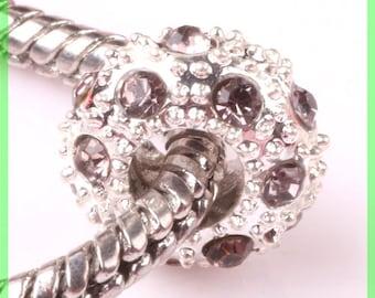 Pearl European N101 rhinestone spacer for bracelet charms
