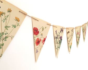 Spring Flower Garland. Double sided botanical bunting summer plant illustrations. Vintage paper banner for wedding, shop or home decoration