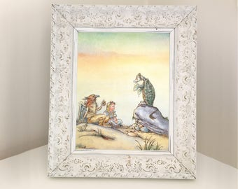 Mock Turtle talking with Alice in Wonderland and Gryphon. Vintage Book Page for Framing. Baby Shower, Housewarming, Graduation Present