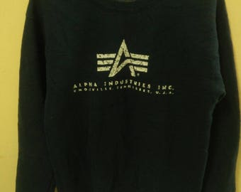 Mega Sale!!Vintage Alpha Industries Sweatshirt Made In USA / Millitary Sweatshirt 80's