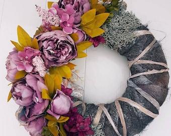 Garland//door hanger//gift//handmade//different flowers and pink shades//Peony//decoration//gift mother, girlfriend//second hand dealer