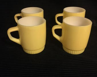 Vintage set of 4 yellow Fire King coffee mugs