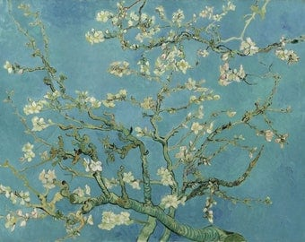 ORIGINAL AESTHETIC WASHABLE and tough semi-rigid PLACEMAT / Van gogh / almond blossoms up. Prestige version