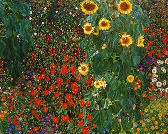 ORIGINAL design, durable and WASHABLE PLACEMAT - Gustav Klimt - sunflowers - classic.