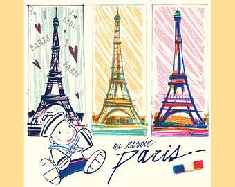 "SEMI-rigid PLACEMAT, ORIGINAL design, WASHABLE and durable - ""goodbye Paris""."