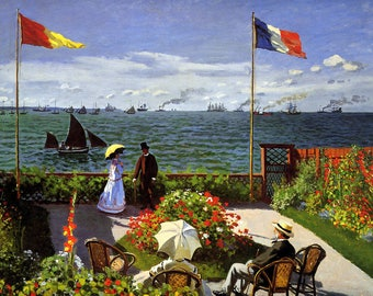 ORIGINAL design, durable and WASHABLE PLACEMAT - Claude Monet - terrace at Sainte-Adresse - classic.