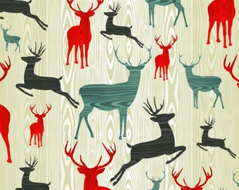 TABLE SET Christmas vintage, original, plastic, washable and durable - deer colors designs.