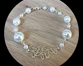 Bracelet glass beads with filigree flowers print