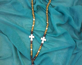 Wood beads and ceramic cross necklace