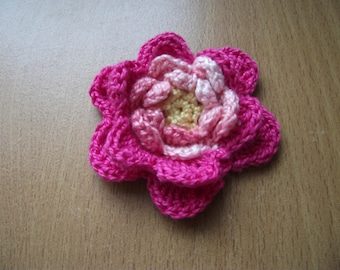 Flower brooch made of cotton two shades of pink