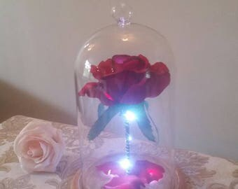 Beauty & the beast inspired Enchanted rose globe light Forever rose.Belle rose.Gifts for her.Birthday/valentines/mothersday/wedding/proposal
