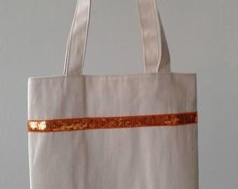 Clearance sale - Tote Bag glitter orange