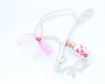 Vial necklace gourmet marshmallows and marshmallow