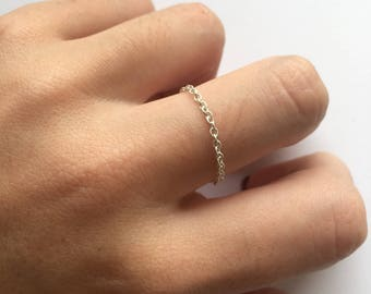 Simple dainty minimalistic chain ring - stacking ring, silver ring, delicate ring, urban ring, alternative wedding ring, statement ring,