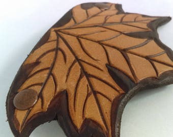 Leather Barrette - Maple Leaf
