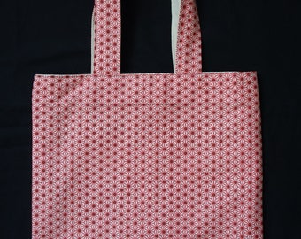 Red white flowers geometric tote bag