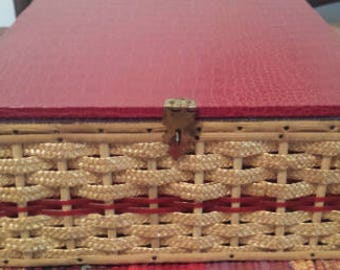 Collectible USB Vintage Sewing Box made in Japan, Wicker and Red Satin Lining 1950s D534