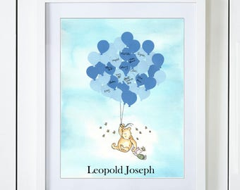 Classic Winnie The Pooh & Piglet Baby Shower Guest Book Alternative with Blue Balloons in the Clouds
