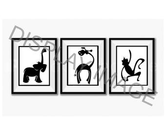 Nursery Wall Art Set, Printable Black Zoo Animals