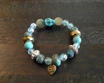 Boho Charm Bracelet | Bead Bracelet | Jewelry | Stacking Bracelet | Friendship Bracelets | Skulls | Gifts | Special Occasion | Mala Bracelet