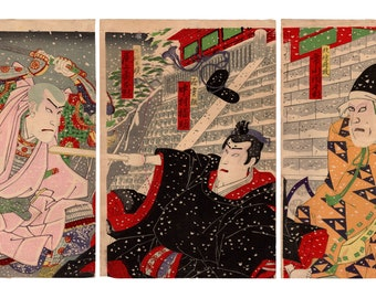 Murder at the shrine (Utagawa Kunisada III) N.1 triptych of ukiyo-e woodblock prints
