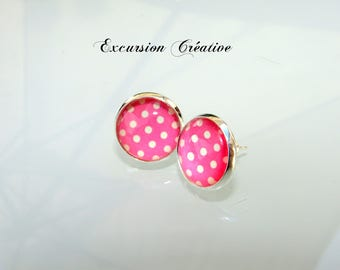 "Earrings ""chips"" 12 mm stainless steel with white dots on pink"