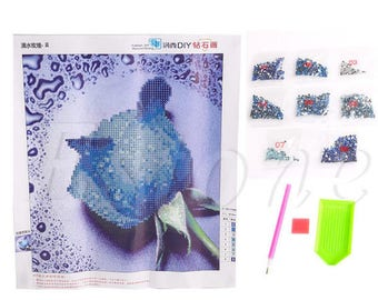 3D diamond Painting Kit pink green approximately 30 x 30 cm