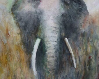 1 500 000 watercolor of an elephant face in the Savannah