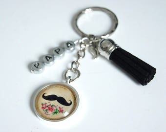 Keychains mustache good celebrate dad - vintage retro black