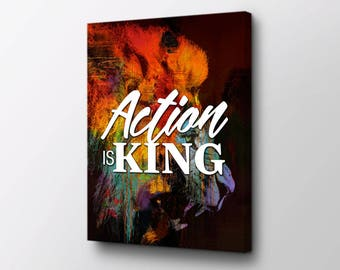 Canvas Wall Art - Lion - Action Is King original design by Epik - Ready to Hang Modern Canvas Artwork - Entrepreneur Art