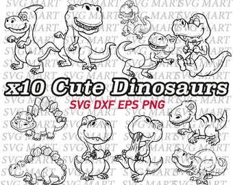 baby dinosaurs svg, cute dinosaurs, clipart, eps, dxf, png, cut files, vector, decal, stencil, vinyl, children, kid