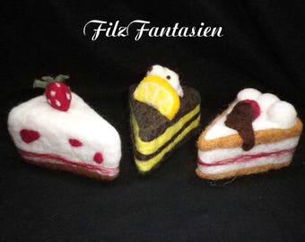 Felted Pincushion, cake, pie felted, needle-felted decoration, table decoration, Pincushion out of felt, decorative cake