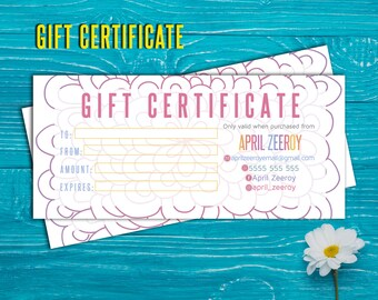 Gift Certificate; H O Approved; custom gift certificate, certificate, cash, Printable!