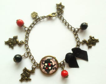 "Bronze bracelet ""rabbit from Alice pays des merveilles""to charm"