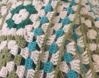 Handmade Crocheted Blanket - Seafoam