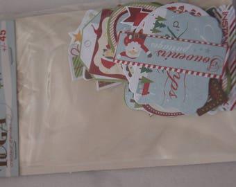 SET OF 45 CHRISTMAS TOGA PAPER EMBELLISHMENTS