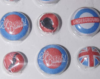 9 BUTTONS EMBROIDERED LONDON