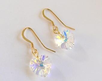 22K Gold Vermeil with Clear AB Swarovski Crystal Heart Drop Earrings