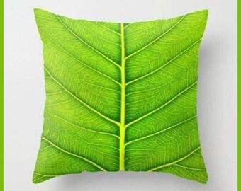 Decorative pillow leaf,  pillow cover, leaf pillow, personalized pillow, palm leaf pillow, green pillow.