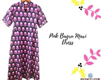 Cotton Maxi Dress, Block Print Dress, Floral Maxi Dress, Pink Maxi Dress, Handmade Dress, Maxi Dress, Fall Maxi Dress,  Hand Printed Dress.