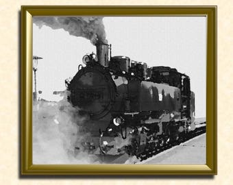 Steam locomotive Wall art. locomotive Train. High Quality PDF Printable Wall Art. Canvas texture. Train decor, Train photo, antique train